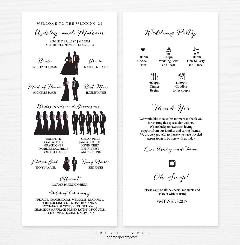 Atemberaubend Einzigartige Hochzeitsprogramm Vorlagen Zeitgenössisch ...