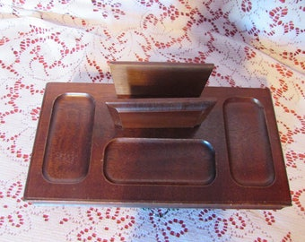 VINTAGE Organizer For Father's Day Gift, vintage Desk Organizer, VINTAGE Wood Valet Tray, Office Organizer, Jewelry Storage