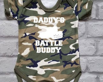 Army Baby Grow, Camo Baby Vest, Military Baby Clothes, Combat Baby, Armed Forces Baby Bodysuit, Daddy's/Mommy's Battle Buddy, Baby Shower
