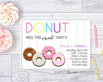 SALE Donut Invitation Digital Donut Invite 5x7 Jpeg DIGITAL File