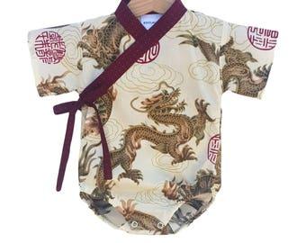 Baby Kimono Bodysuit - BEIGE DRAGON - Japanese kimono onesie for baby and toddler