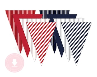 INSTANT DOWNLOAD Navy Blue and Red Pennant Banner (Baseball Birthday, Baseball Pennant Banner, Baseball Party, Printable Pennant Banner)