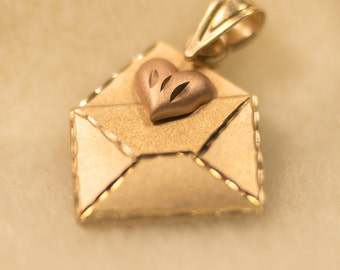 "14k Rose Gold and 14k Yellow Gold ""With Love"" Valentine Envelope Pendant - Designer Piece"
