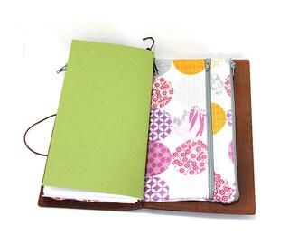 Zippered Insert for Midori Travelers Notebook, Standard Size, Personal Size, Passport Size, Micro Size - Kimono Gardens Light