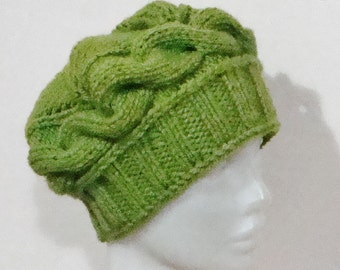 Hand Knitted Hat - Green - Winter - Beanie - Cable Knit - Beret - Slouch
