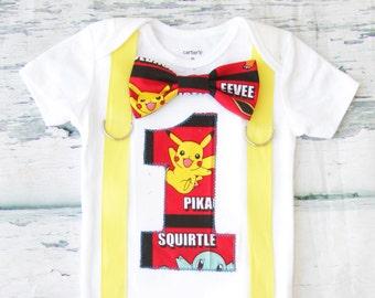 Baby boy first birthday Pikachu Pokemon themed cake smash outfit boy Pikachu Pokemn 1st birthday one year bow tie onesie  boy birthday shirt