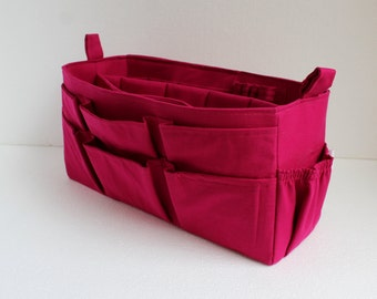 Extra large size Purse organizer  with laptop padded case - Bag organizer insert in Pink/Fuchsia fabric