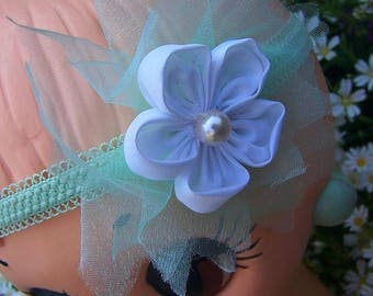 Headband retro style with flower fabric, tulle and Pearl