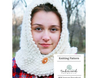 Knitting Pattern for Hood Cowl, Hooded Cowl Pattern, Hood Cowl Knitting Pattern, Child Hooded Cowl Knitting Pattern, Bulky Yarn Pattern