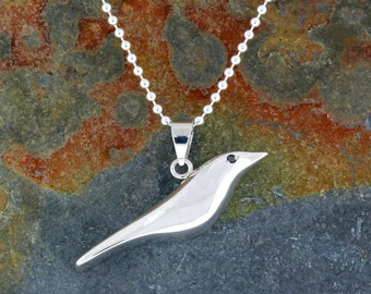 """Sterling Silver """"Nod to Eames"""" House Bird Pendant/Necklace. READY TO SHIP!"""