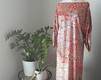 Vintage 60s / 70s Asian Floral Inspired Dress| Orange and Blue Boatneck Dress | Vintage Floral Maxi Dress | M/L | Velvet Occasion Dress