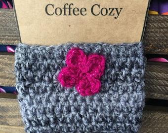 Gray Crocheted Coffee Cozy, Coffee Sleeve, Stocking Stuffer