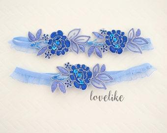 Wedding Garter Set, Blue Flower Lace with Ruffle Elastic Garter, Something Blue,Blue Wedding Garte, Bridal Blue Garter Belt / GT-34A