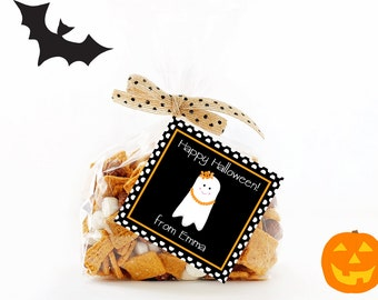 Halloween Treat Tags, Girl Ghost Tag, Printable Personalized Halloween Tags, Halloween Gift Tag, Halloween Tags, Treat Tag, Favor Tags