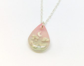 Pink to Blue Ombre Gradient Night Sky Necklace. Magical Pastel Resin Necklace. UV Resin Jewellery.