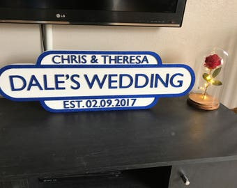 Personalised Wedding Street/Train Sign
