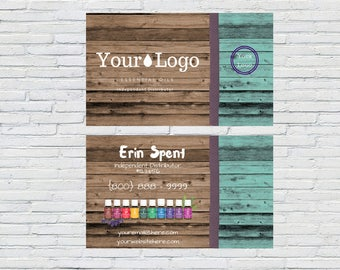 Turquoise Wood Business Card, Essential Oils Business Card, Digital File, Printable, Small Business, Independent Distributor|Rustic