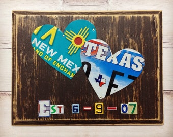 10 Year Anniversary - Long Distance Relationship - 10th Wedding Anniversary Gift- License Plate Art - Gift for Her - Home State Hearts