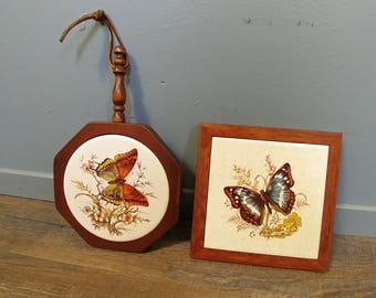 Vintage Wood and Tile Trivets // 2 Butterfly Trivets // 70's Kitchen Decor