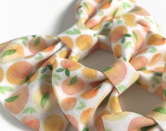 Peaches Hair Bow - Fabric Hair Bow - Summer Fruit Bow - Peaches Fabric Bow - Girls Hair Bow - Peach Hair Bow - Nylon Headband