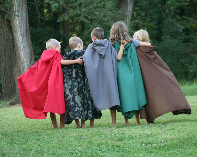 Hooded Cloak - Youth, Brown, Green, Navy, Black, Red, Cream, Gray, Orange, Pink, Blue