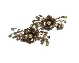 Vintage Gold Tone Floral Spray Earrings