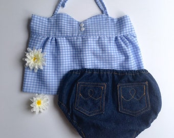 Gingham baby outfit / baby halter top / baby bloomer / blue gingham top / baby tops / denim diaper cover / baby shower gift set / retro baby