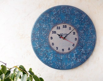 Wooden round wall clock, Analog clock, Blue wall clock, Hanging clock,Floral, Wall decor, Navy blue, Classic style