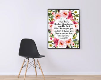 WATERCOLOR -For I Know The Plans- Jeremiah 29:11-Bible Verse- Wall Art