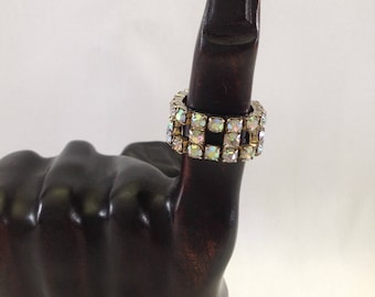 Vintage Aurora Borealis AB Rhinestone Adjustable Stretch Band Ring