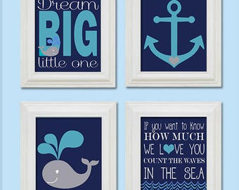 Nautical Nursery 8x10 set of Art Print, Anchor, Whale, Count the waves in the sea Navy Pool Blue