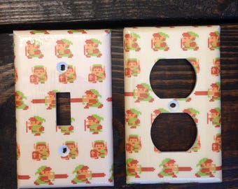Legend of Zelda Light Switch And Other Style Covers | Pixel Link - NES - Video Game Decor - Nintendo - Zelda Wall Art - Retro Gaming Decor