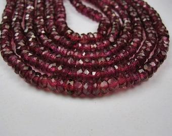 Rhodalite Garnet Gemstones. Faceted Rondelles, 3 - 3.5mm. Semi Precious Gemstone Rondelles. 10 inch strand(2GN5)