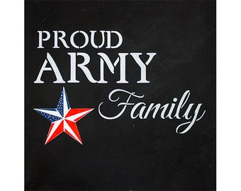 Proud Army Family - Word Art Stencil - Select Size - STCL1243 by StudioR12