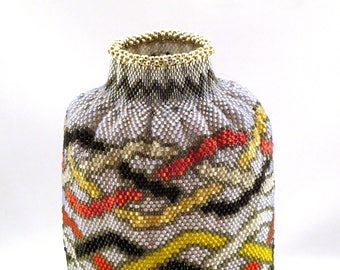 Three Braids Beadwoven Vase
