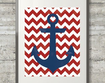 Nautical Chevron Anchor Red White and Blue Printable Wall Art- Watercolor