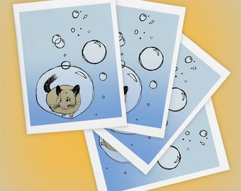 Chinchilla Floating in Bubble, Mini Art A2 Blank Greeting Cards Set of FOUR, Illustration Print, Matte Finish, Made in USA