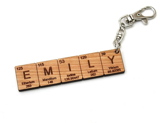 Custom name periodic table chemistry keychain cool science or custom name periodic table chemistry keychain cool science or chemistry gift made in the usa with sustainably harvested woods urtaz Gallery