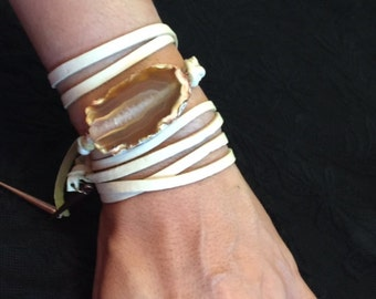 Freeform Agate Leather Wrap Bracelet