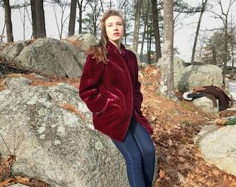 Vintage Casper dark magenta short faux fur coat size XS/S, 1950s coat, MCM clothing, mid century coat, MCM coat