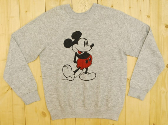 Vintage 1980's MICKEY MOUSE Heather Grey Tank Top / Retro Collectable Rare 9te1ct2T