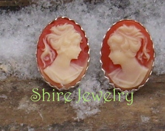 Pomegranate Victorian Lady Cameo Earrings
