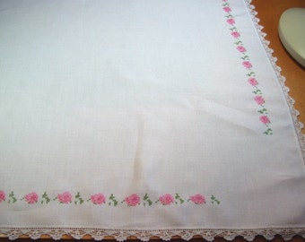 TEA CLOTH - Cross Stitched Roses with vintage Crochet Border - Pinks