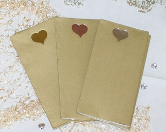 Foil heart on large size gold paper napkins with the look and feel of linen (Pack of 20)