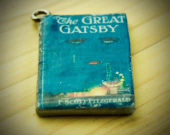 Great Gatsby Charm - Scott Fitzgerald Charm - Writer Gift - Book Lover Gift - Midori Charm - Journal Charm - Jewelry Accessory - Reader Gift