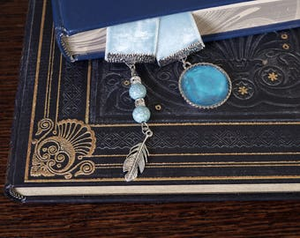 Pale blue Velvet Ribbon Bookmark - with silver charms and beads, booklover's gift, mother's day gift