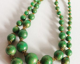 Necklace - vintage round green plastic necklace double strand