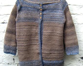 Crochet Pattern for Women's Cardigan Striped Sweater DK Instant Download PDF