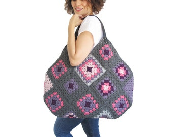 Chunky Granny Sguare Afghan Colorful Croched Handbag With Leader Handles - Gray Pink Lilac by AFRA
