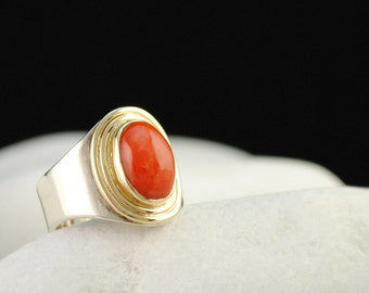 Natural Red Coral Sterling Silver and 14K Gold Ring